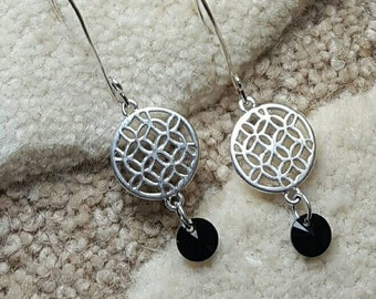 Silver discs and Swarovski crystal drop dangle earrings