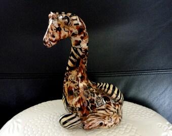 Vintage Giraffe Safari Print Figurine