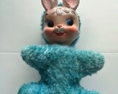 SALE!! Was 64.99 Now 44.99 Vintage Rubber Faced Stuffed Animal Bunny Wind Up Lullaby Music 9""