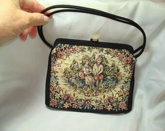 1950s Petite Point Like Black Handbag with Coin Purse.
