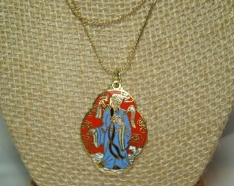 1970s Enameled  Chinese Emperor Pendant on Triple Strand Gold Tone Chain.