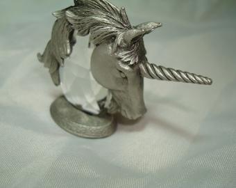 Vintage JJ Brand Pewter and Crystal Unicorn Head.