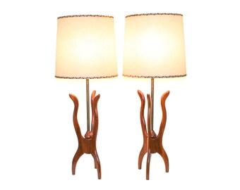 Pair Mid-Century Modern Walnut Tripod Lamps Fiberglass Shades
