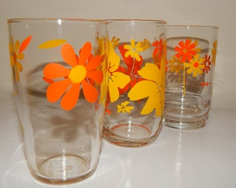 Mixed Lot of 3 Retro 70's Orange and yellow flower Printed Drinking Glasses