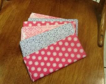 """6 Cotton Fat Quarters Matching set Flirtatious 18 x 27"""" pinks, gray blue fat quarter"""
