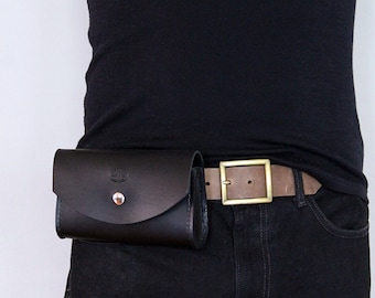 Mens Leather Belt Bag, Hip Pouch, Custom Leather Utility Bag, Hip Pack