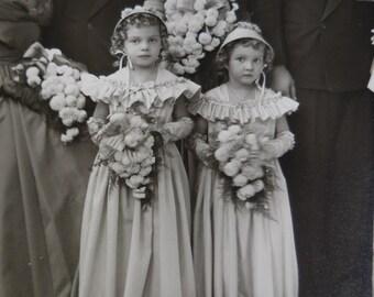 9 antique vintage Wedding  photographs Bride Groom wedding Party Flower girls