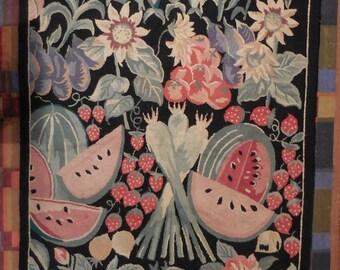 Vintage Area Rug Fruit Vegetables Black green red Botanical 46 x 70 large carpet rug textile