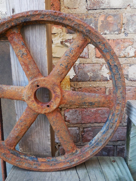 Cast Iron Wheels And Gears : Vintage cast iron wheel gear pulley double groove industrial