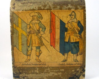 Vintage Bookend Wood Soldiers with Flags Swedish Dutch 17th Century Military Shabby Rustic Decor