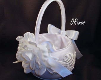 Jessica Collection - Flower Girl Basket with Camellia Bloom