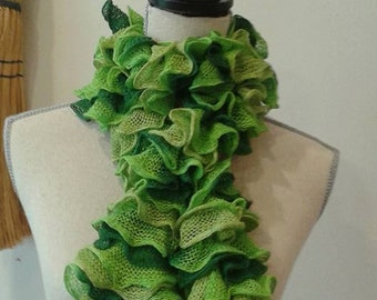 SALE green ruffle scarf