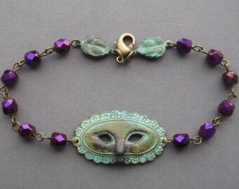 Masquerade Jewelry - Masquerade Mask Bracelet - Drama Mask Jewelry - Drama Jewelry - Theatre Jewelry - Verdigris Bracelet - Drama Jewelry