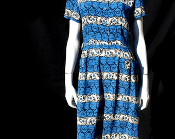 Vintage 40's novelty print rayon dress house dress samart set Original size M WWII swing by thekaliman
