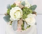 Rustic Wedding Cake Topper - White, Ivory, Blush Rose, Lamb's Ear, Burlap Silk Flower Cake Topper, Fake Flower Topper, Wedding Cake Flowers