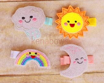 Rainbow, Sun, Cloud, Moon Felt Embroidered Hair Clip - Glitter Hair Clip, Toddler Barrette, School Barrette, Infant Pigtail Clips