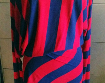 Bold Red and Blue Stripped Asymmetrical Tunic Top with Long Sleeves