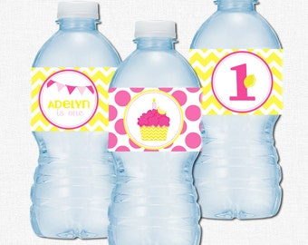 Cupcake Water Bottle Labels, Pink Lemonade Party Printables, Girl Birthday Decorations, Pink and Yellow