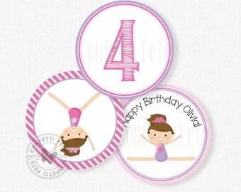 "Gymnastics Party Centerpiece Circles, Gymnastics Birthday Decorations, Gymnastics Table Decor, Printable 4"" Party Circles"