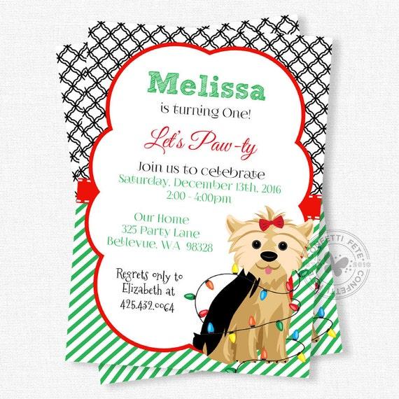 Christmas birthday invitation dog party invitation puppy il570xn filmwisefo Choice Image