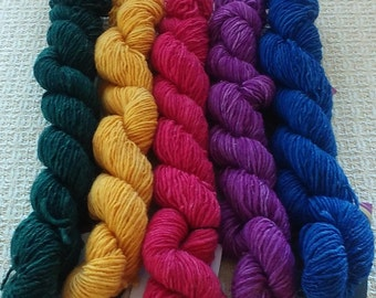 "Hand Dyed Vermont Wool Yarn  ""Set 2"""