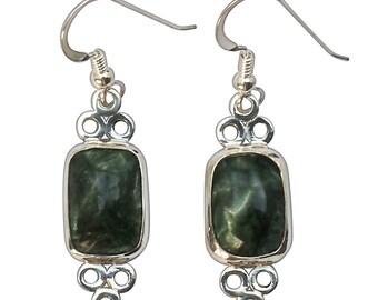 Serifinite and Sterling Silver Dangle Earrings, esrff2671