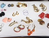 17 pairs of Vintage Earrings ... all for pierced ears.   Metal, Arcylic, Glass, Wood, Dangle, Drop and Stud Earrings.  item #EPEVE17