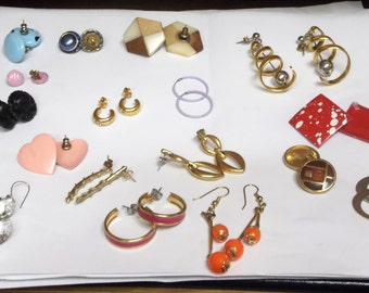 Let's Sell It Price ... 17 pairs of Vintage Earrings ... for pierced ears.  Metal, Acrylic, Glass, Wood, Dangle, Drop and Stud Earrings.