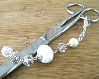 Elegant Silver Frosty White and Clear Crystal Scissor Fob - 6.5 Inches