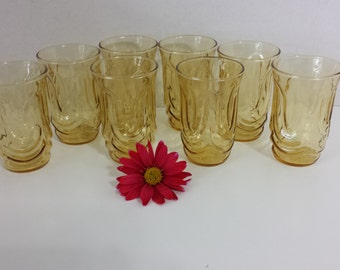 Set of 8, Amber colored Juice Glasses by Libbey
