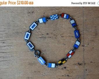 SALE Vintage S.S. Santa Paula enamel nautical flag souvenir bracelet ∙ maritime jewelry secret code