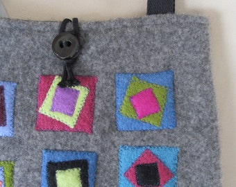 Upcycled Sweater Bag, Gray with Appliqued Detail