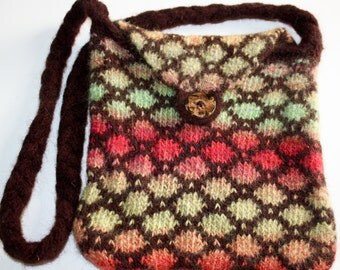 Felted handbag, Brown Fairisle with Handpainted Yarn, Knitted