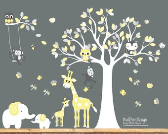 Peel and Stick Wall Decals , Yellow and Grey nursery , Removable wall decals, Removable wall stickers, Tree wall stickers, Wall art stickers