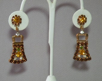 Vintage Amber Rhinestone Drop Earrings