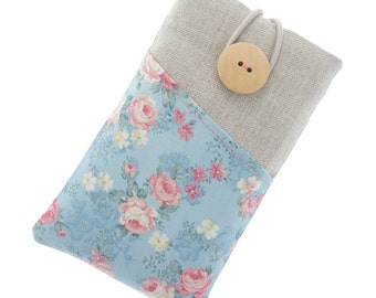 Floral fabric iPhone 6 case, iPhone 6s sleeve with pockets, iPhone 6 Plus cover, iPhone 5 case, iPhone 7 pouch, iPod Classic case, roses