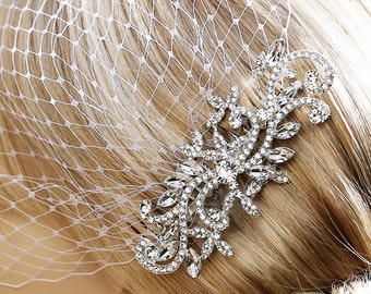 Bridal Birdcage Veil And Rhinestone Comb- 2 Items- Bridal Hair Comb- Wedding Veil- Bridal Hair Jewelry- Wedding Hair Comb