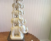WHITE ELEPHANT LAMP Stack of Elephants Herd of Elephants Trunk Up Elephants, Zen Decor, Boho Decor, at Modern Logic