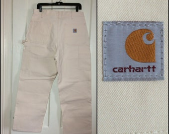 deadstock vintage Carhartt Carpenter Work Painter's Pants white Canvas 35x29 Union made in USA reinforced thigh NOS