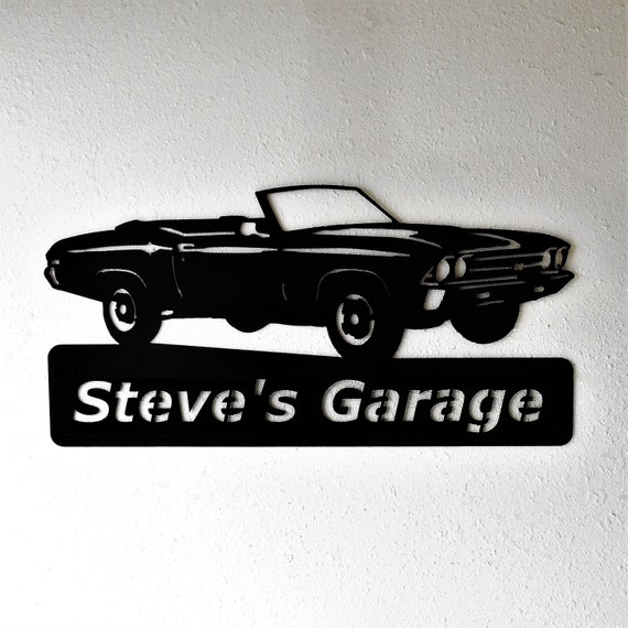 1969 Chevy Chevelle Convertible - Personalized Metal Sign- Man Cave- Classic Car - Muscle Car -Garage Sign -Satin black