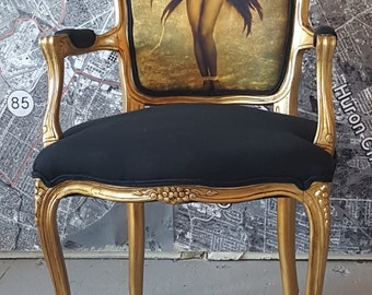 Louis chair gilt vintage antique accent Josephine Baker French glamorous black and gold