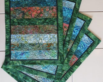Quilted batik placemats set of four sky blue forest green floral