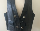Vintage 70's Men's Biker Vest Black Leather