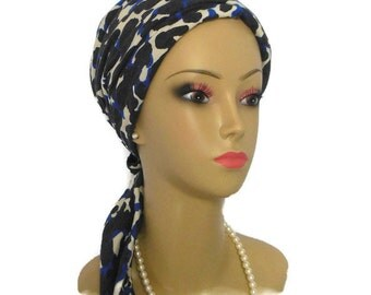 Black BlueLeopard Print Turban Scarf, Soft Jersey Lightweight  Chemo Cover - Cute & Comfortable  Extra Long Ties with Matching Daisy Pin