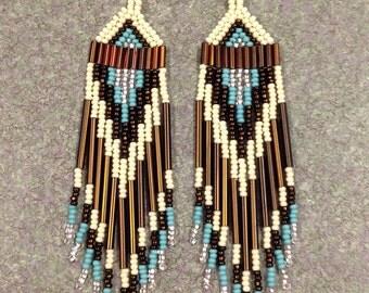 Native American Bone,Rootbeer Turquoise Beaded Earrings