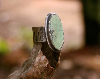 Natural Turquoise Sterling Silver Oxidized Boho Southwestern Gypsy Wide Band Statement Ring