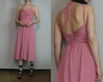 70s OPEN BACK HALTER Vintage Ruched Pleated Bust Backless Champagne Pink Spaghetti Strap Disco Midi Dress xxs xs xs/s 1970s