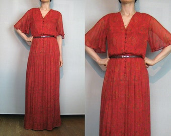 70s TREACY LOWE SILK India Indian London Vintage Red Pink Green Yellow Floral Angel Wing Flutter Sleeve Button Down Maxi Dress 1970s
