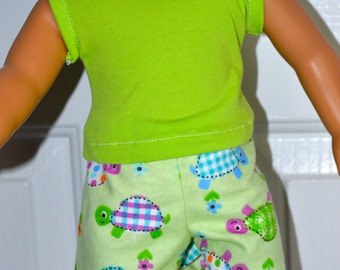 18 Inch Doll Four Piece Set Including Three Pair Boxer Short Set and Lime Green Cotton Knit Tshirt by SEWSWEETDAISY