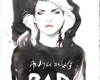 Blondie Original Painting, Fashion Illustration,  Watercolor Fashion painting, Blondie, Debbie Harry, Fashion Art, Rock n Roll Art, Bad